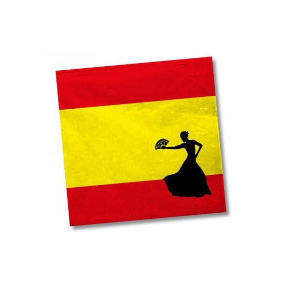 Landen versiering en vlaggen Geen Papieren Spanje servetten 20 st