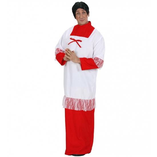 Misdienaar kostuum voor heren. een pastoor kostuum in de kleur rood wit wat bestaat uit 1 geheel. het kostuum ...
