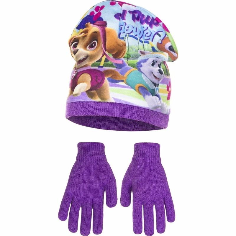 Paw patrol muts met handschoenen paars voor meisjes. deze set bevat een paarse muts met plaatjes van paw ...