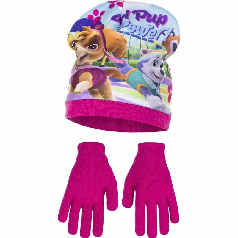 Paw patrol muts met handschoenen roze voor meisjes. deze set bevat een roze muts met plaatjes van paw patrol ...