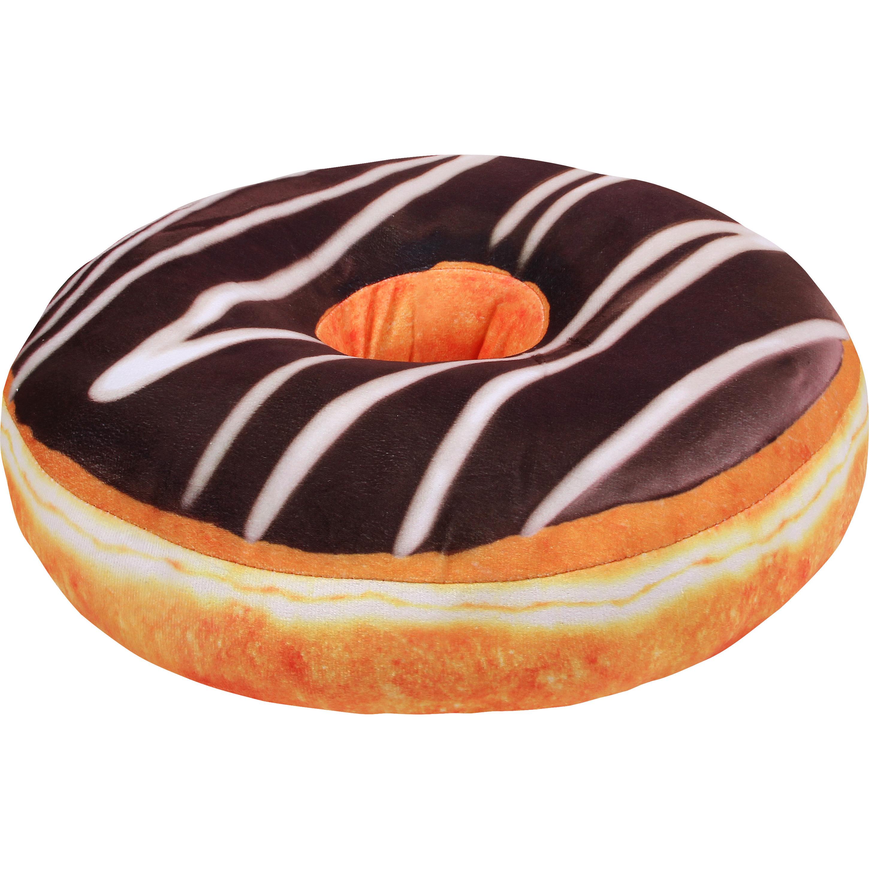 Geen Pluche donut kussen chocola 40 cm Kussens