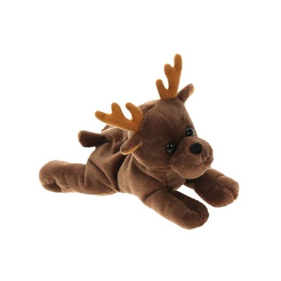 Eland knuffel. dit pluche liggende eland knuffeltje heeft een formaat van ongeveer 16 cm.