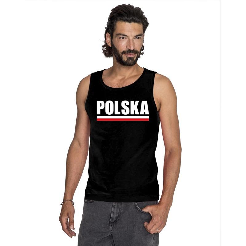 Landen versiering en vlaggen Shoppartners Polen supporter mouwloos shirt tanktop zwart heren