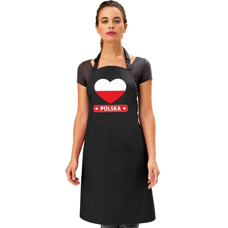 Landen versiering en vlaggen Shoppartners Poolse vlag in hart keukenschort barbecueschort zwart