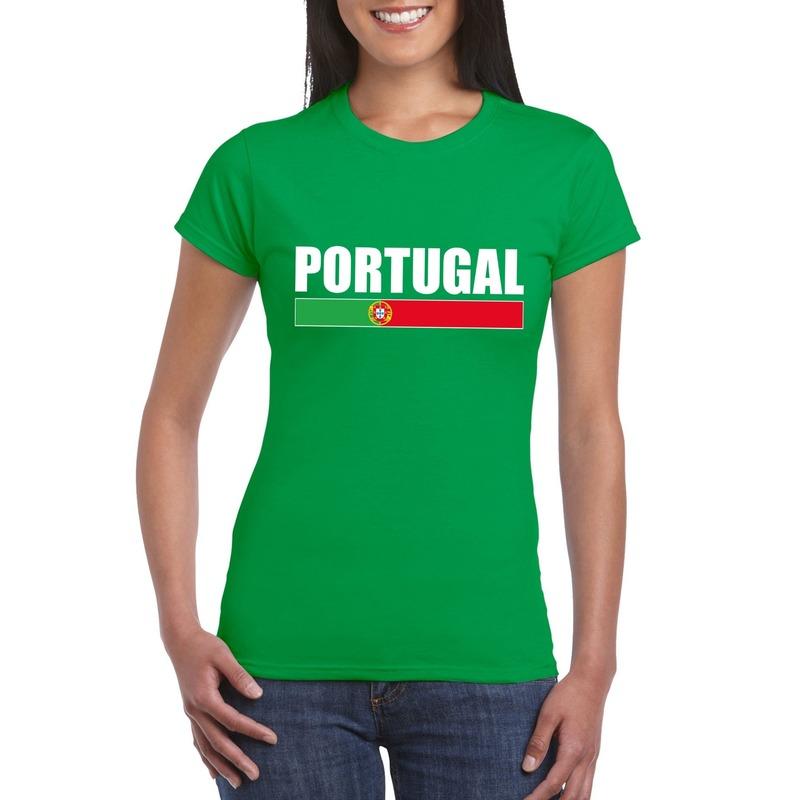 Portugese supporter t shirt groen voor dames Shoppartners Landen versiering en vlaggen