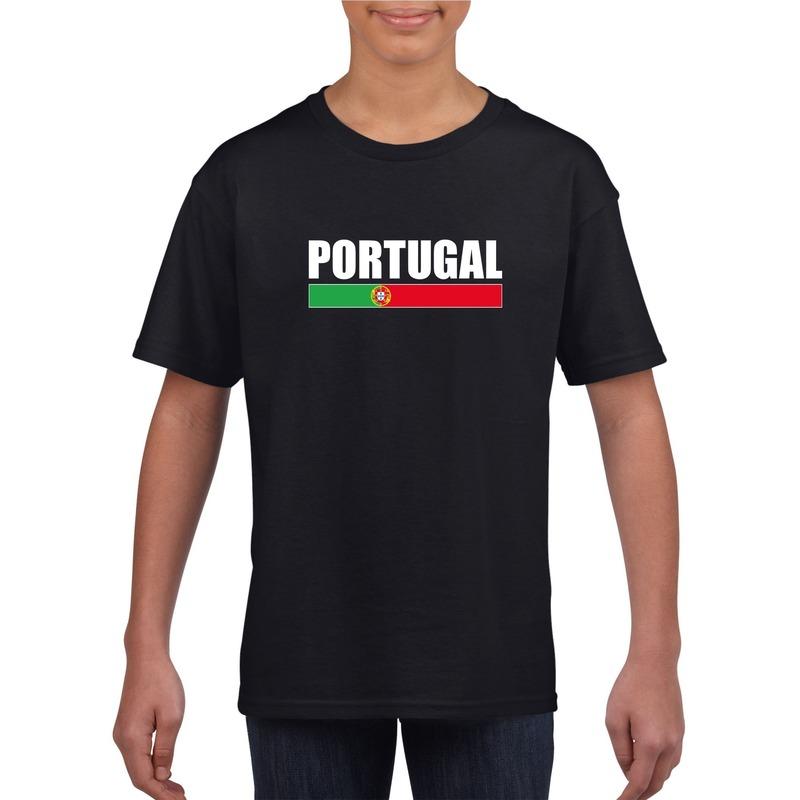 Shoppartners Portugese supporter t shirt zwart voor kinderen Landen versiering en vlaggen