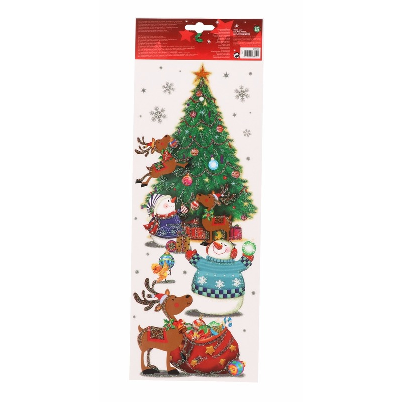 Een vel van ca. 15 x 42 cm met raamsticker van een kerstboom met sneeuwpoppen. de sticker is herbruikbaar. ...
