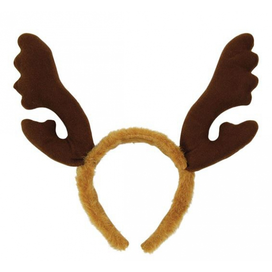 Rendier diadeem bruin. bruine kerst diadeem met een pluche gewei. de haarband is lichtbruin en het gewei is ...