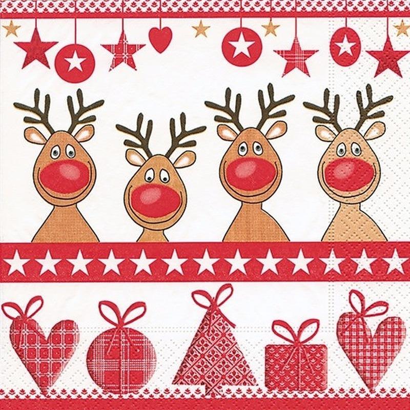 Kerst servetten 4 red noses. papieren 3 laags servetten met een opdruk van 4 rendieren. formaat: 33 x 33 cm. ...