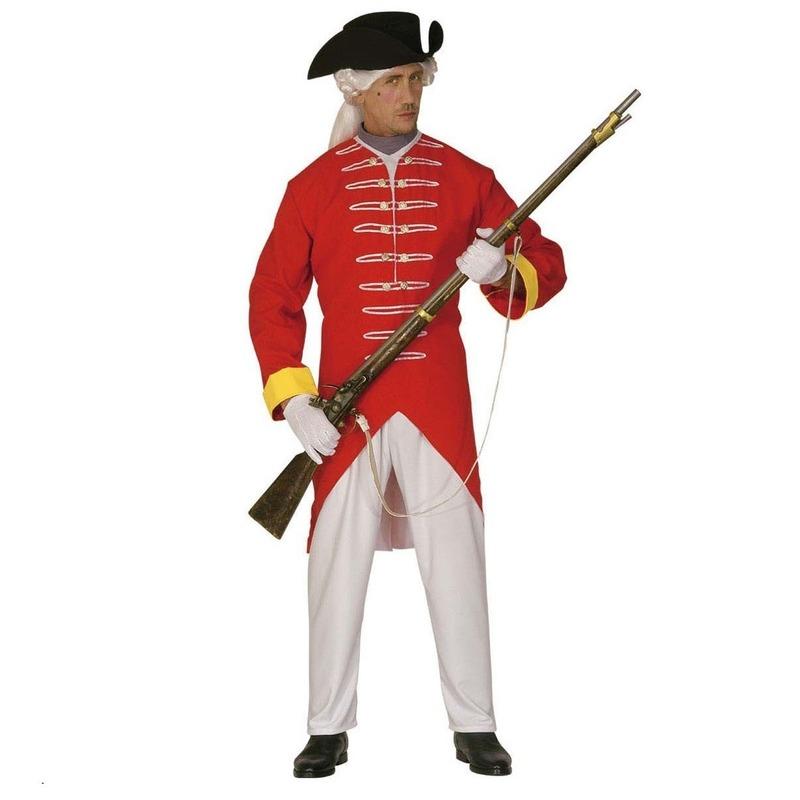 Rode soldaat kostuum. het kostuum bestaat uit een jas, een broek en een hoed. het rode soldaten kostuum is ...