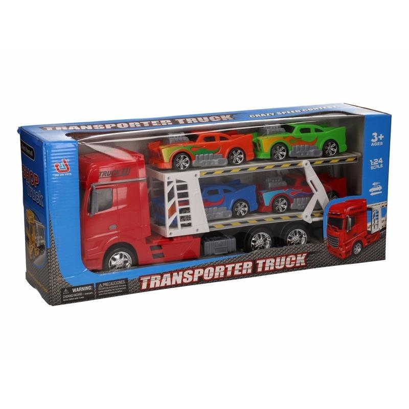 Rode vrachtwagen 44 cm met vier autos Geen Speelgoedvoertuigen