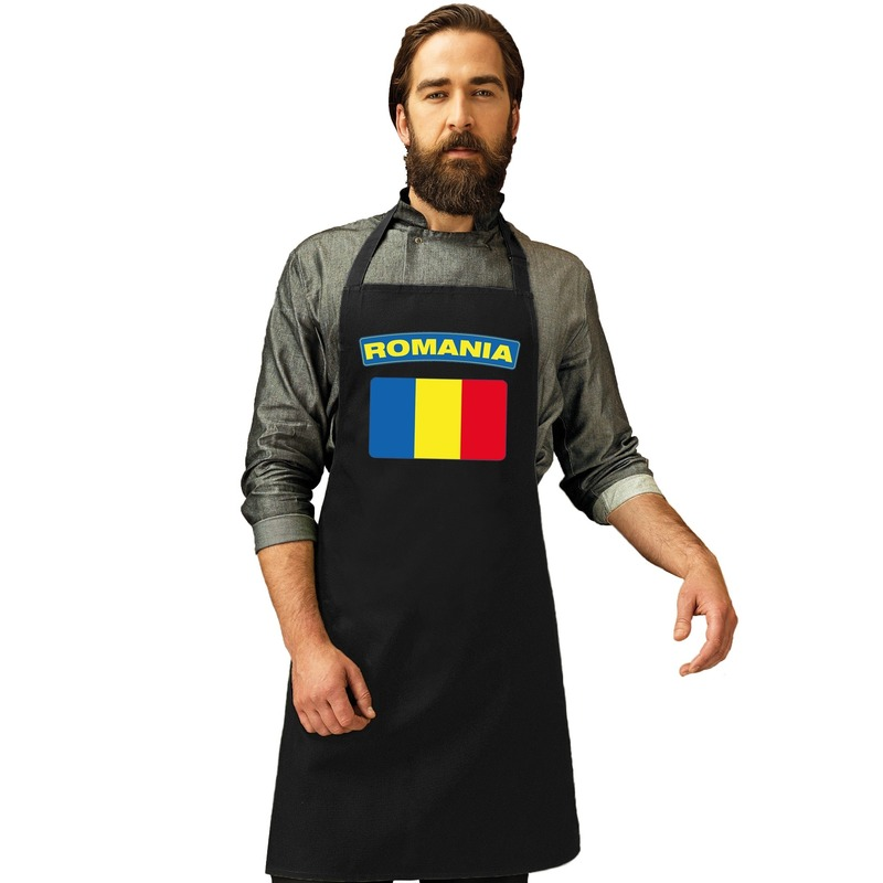Landen versiering en vlaggen Shoppartners Roemeense vlag keukenschort barbecueschort zwart heren en