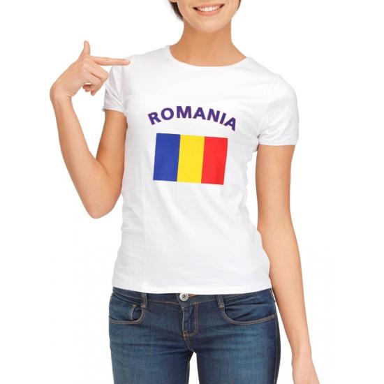 Landen versiering en vlaggen Shoppartners Roemeense vlag t shirt voor dames