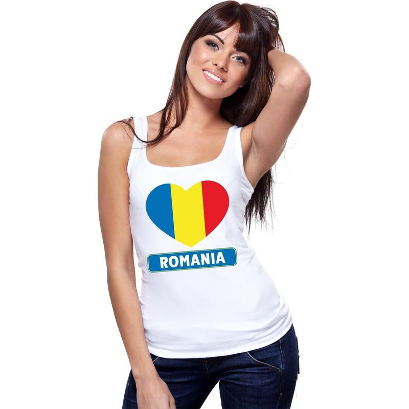 Landen versiering en vlaggen Roemenie hart vlag mouwloos shirt wit dames
