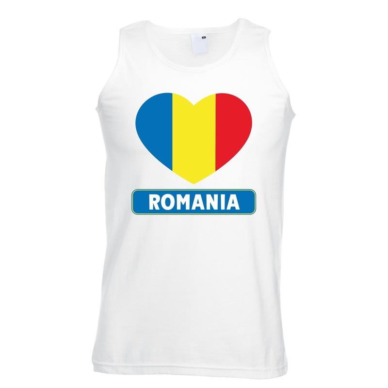 Roemenie hart vlag mouwloos shirt wit heren Shoppartners Landen versiering en vlaggen