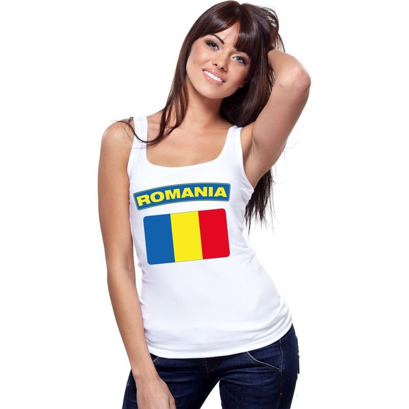 Shoppartners Roemenie vlag mouwloos shirt wit dames Landen versiering en vlaggen