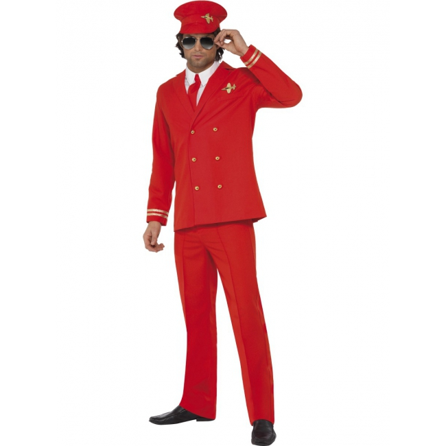 Rood piloten kostuum voor heren. dit pilotenpak voor heren bestaat uit de broek, het jasje, de hoed en de ...