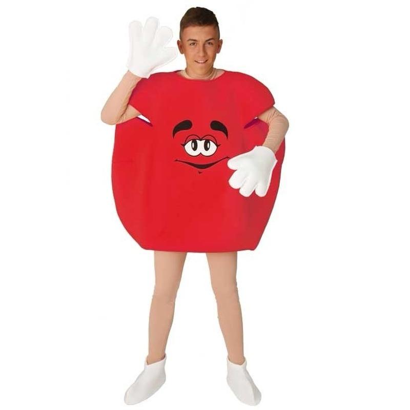Rood snoep pak voor volwassenen. dit rode snoep kostuum bestaat uit het rode pak, handschoenen en schoen ...