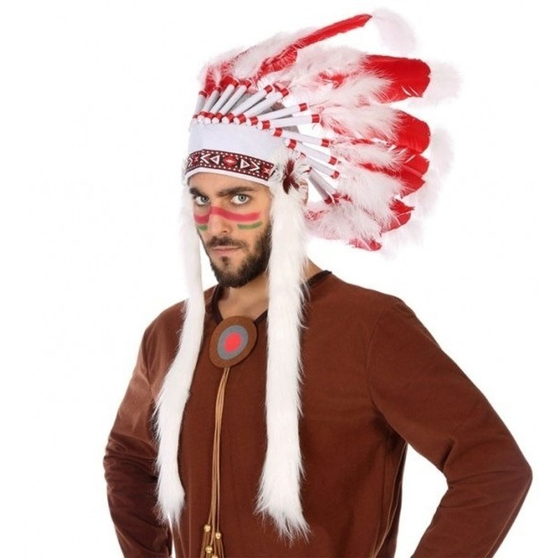 Rood-witte indianen tooi voor heren