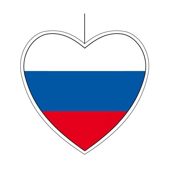 Geen Rusland hangdecoratie harten 28 cm Landen versiering en vlaggen