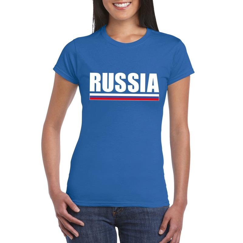 Shoppartners Russische supporter t shirt blauw voor dames Landen versiering en vlaggen