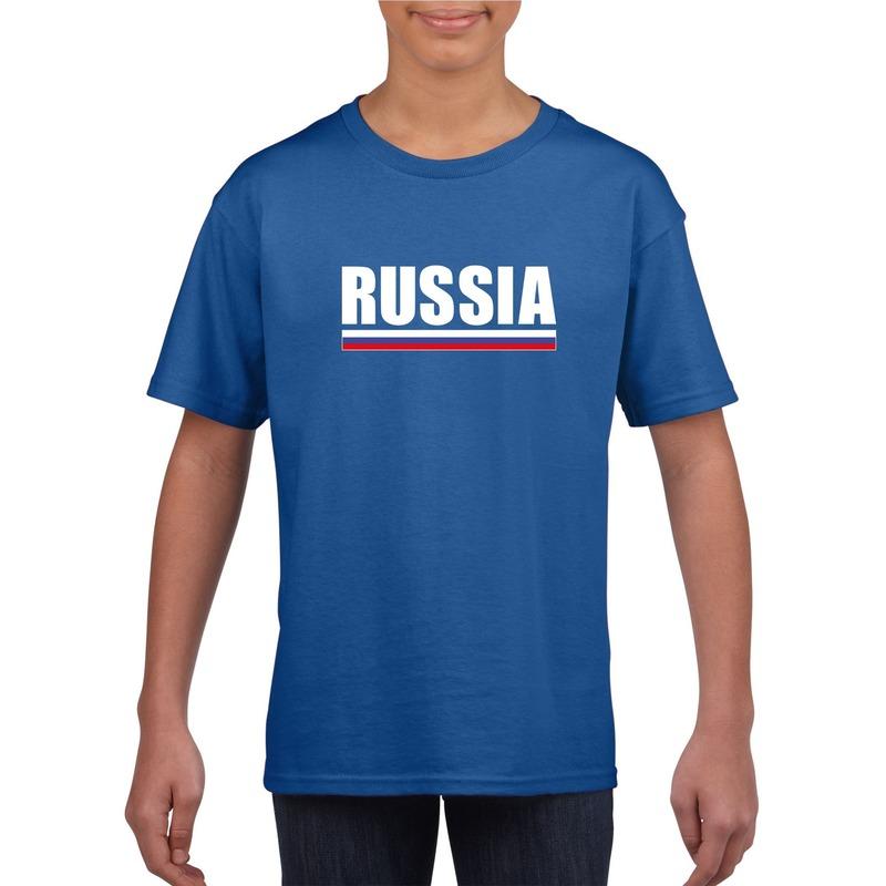 Landen versiering en vlaggen Shoppartners Russische supporter t shirt blauw voor kinderen