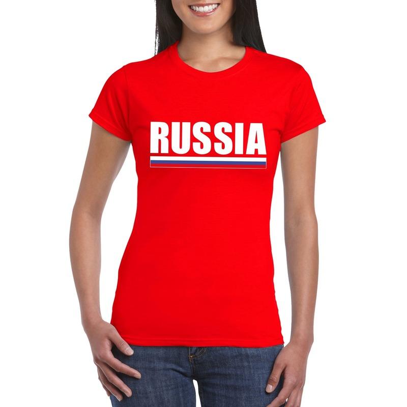 Landen versiering en vlaggen Shoppartners Russische supporter t shirt rood voor dames