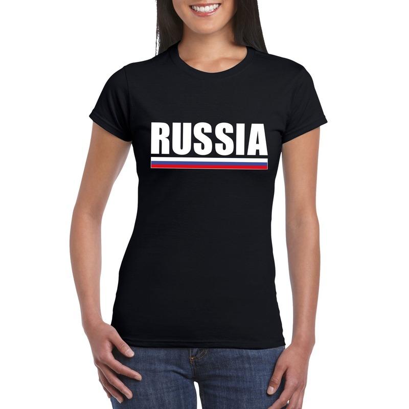 Landen versiering en vlaggen Shoppartners Russische supporter t shirt zwart voor dames