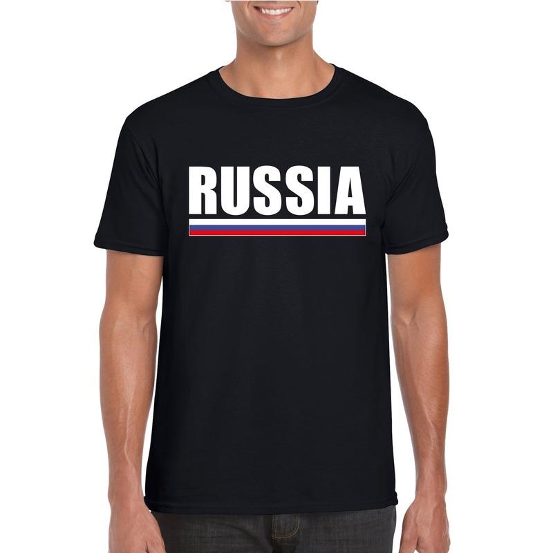 Russische supporter t shirt zwart voor heren Shoppartners Goedkoop