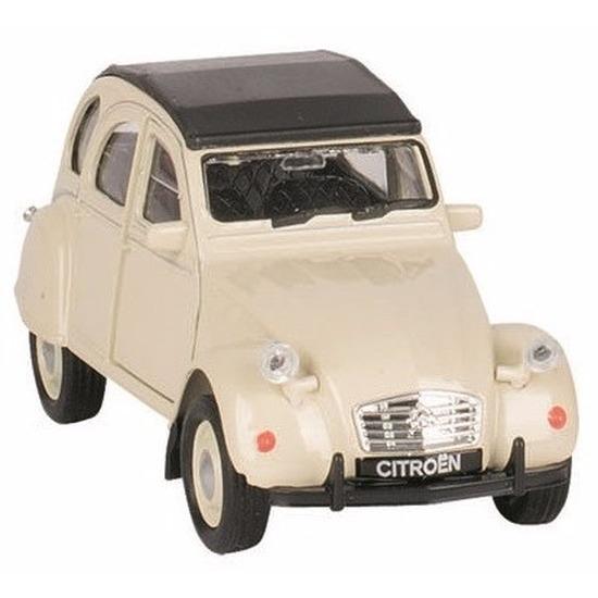 Speelgoedvoertuigen Welly Schaalmodel Citroen 2CV beige gesloten dak 1 36