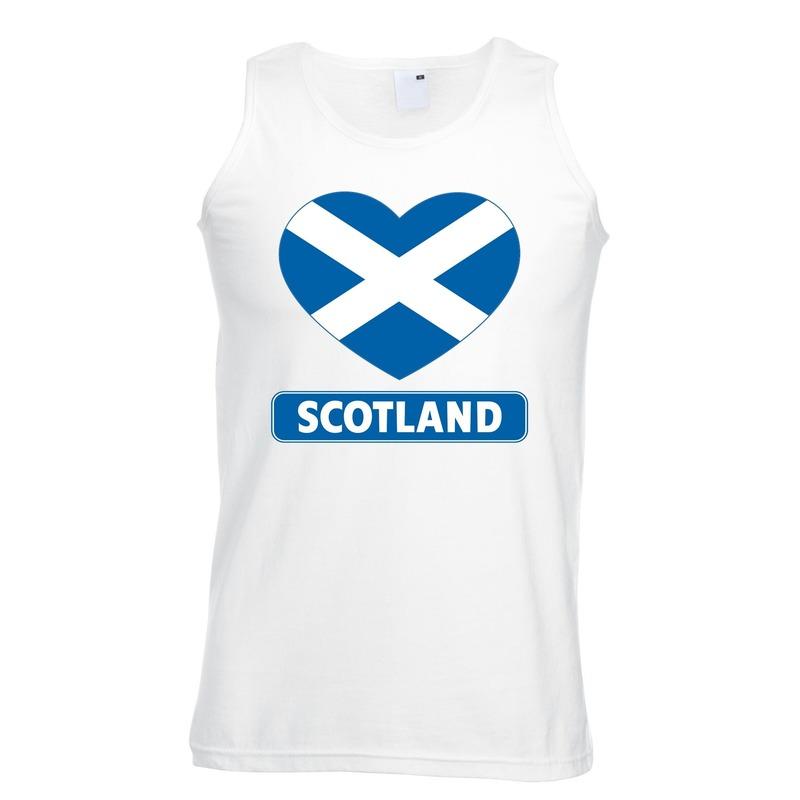 Landen versiering en vlaggen Shoppartners Schotland hart vlag mouwloos shirt wit heren