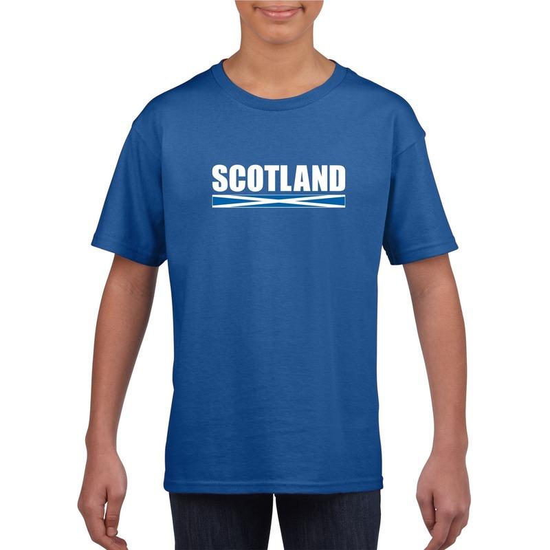 Landen versiering en vlaggen Schotse supporter t shirt blauw voor kinderen