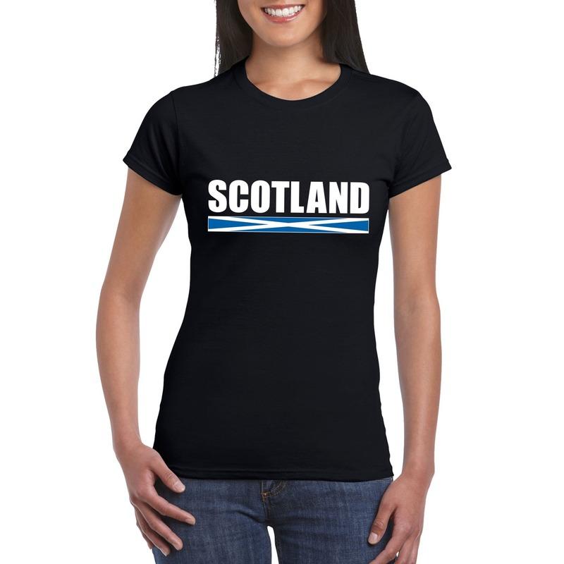 Shoppartners Schotse supporter t shirt zwart voor dames Landen versiering en vlaggen