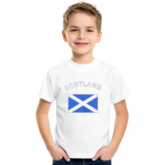 Landen versiering en vlaggen Schotse vlag t shirts voor kinderen