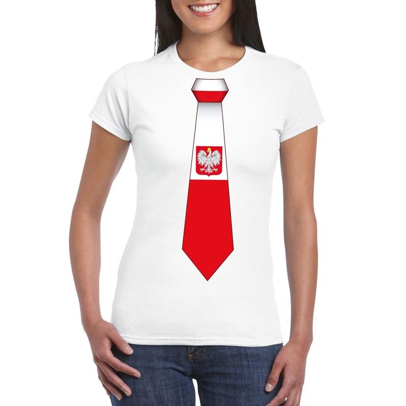 Landen versiering en vlaggen Shirt met Polen stropdas wit dames