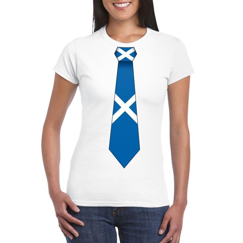 Landen versiering en vlaggen Shoppartners Shirt met Schotland stropdas wit dames