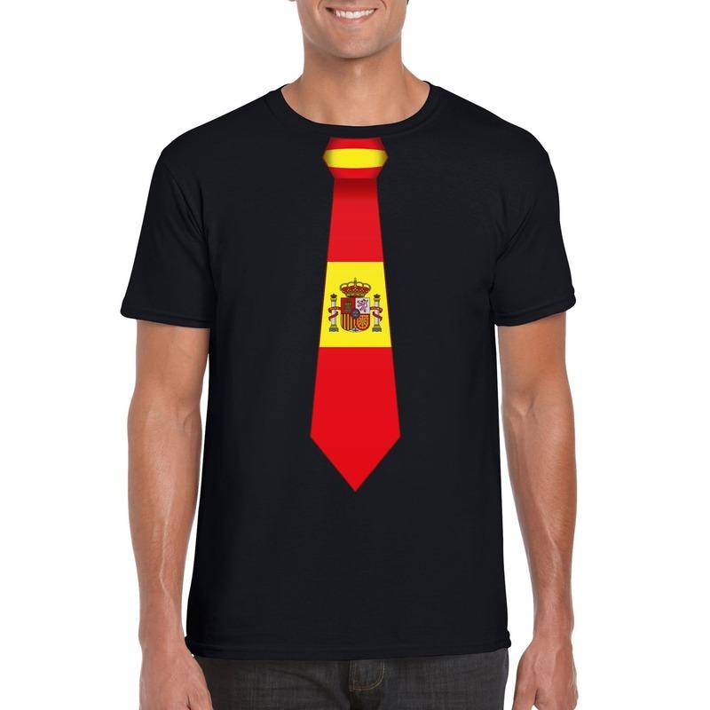 Landen versiering en vlaggen Shoppartners Shirt met Spanje stropdas zwart heren