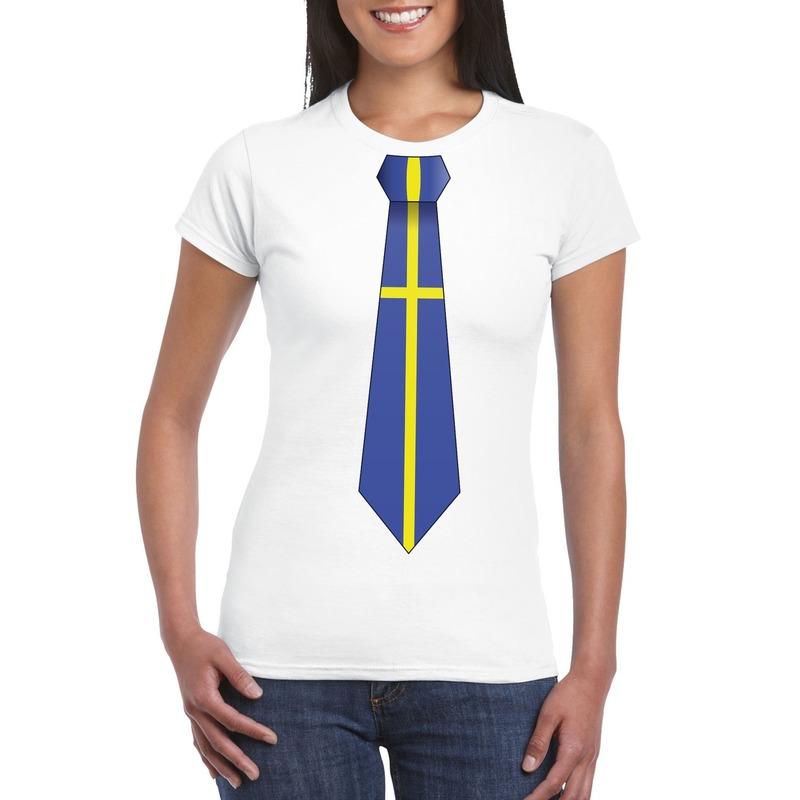 Shirt met Zweden stropdas wit dames Shoppartners Landen versiering en vlaggen