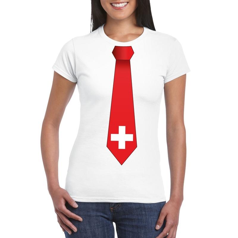 Shirt met Zwitserland stropdas wit dames Shoppartners Landen versiering en vlaggen