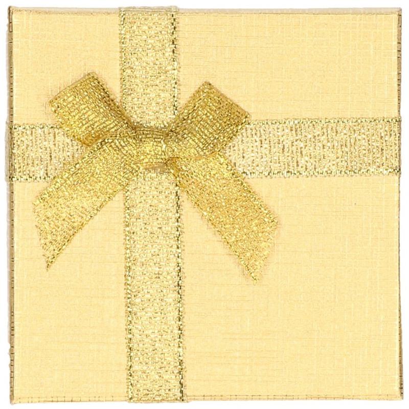 Sieradendoosje goud met strik 9 x 9 cm.