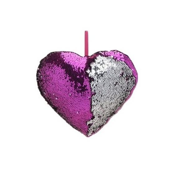 Geen Sierkussen hartje paars metallic met draaibare pailletten 30 cm Woonaccessoires