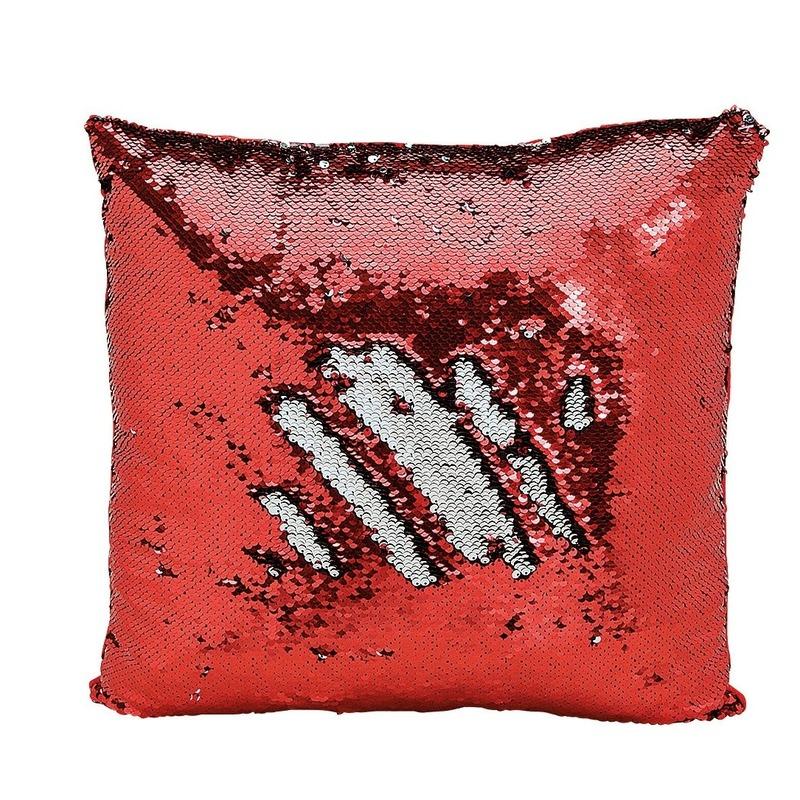 Geen Sierkussen rood metallic met draaibare pailletten 40 cm Woonaccessoires
