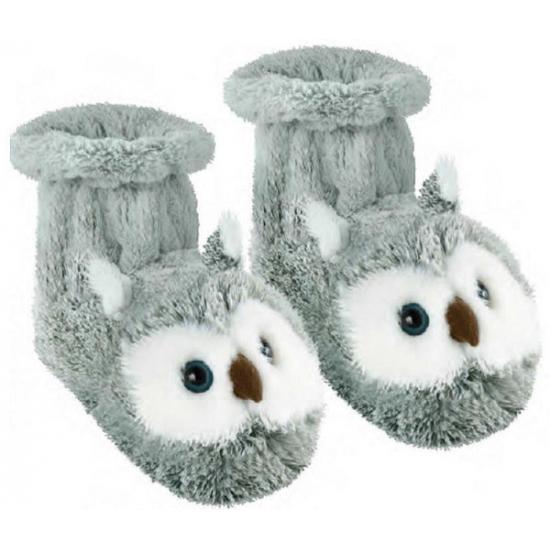 Sloffen en Pantoffels Geen Slof sokken grijze uil