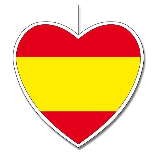 Landen versiering en vlaggen Spaans decoratie hart 30 cm