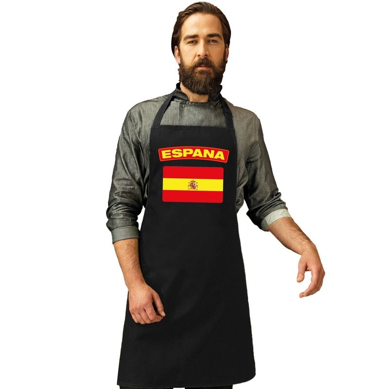Shoppartners Spaanse vlag tapas keukenschort barbecueschort zwart heren en dames Landen versiering
