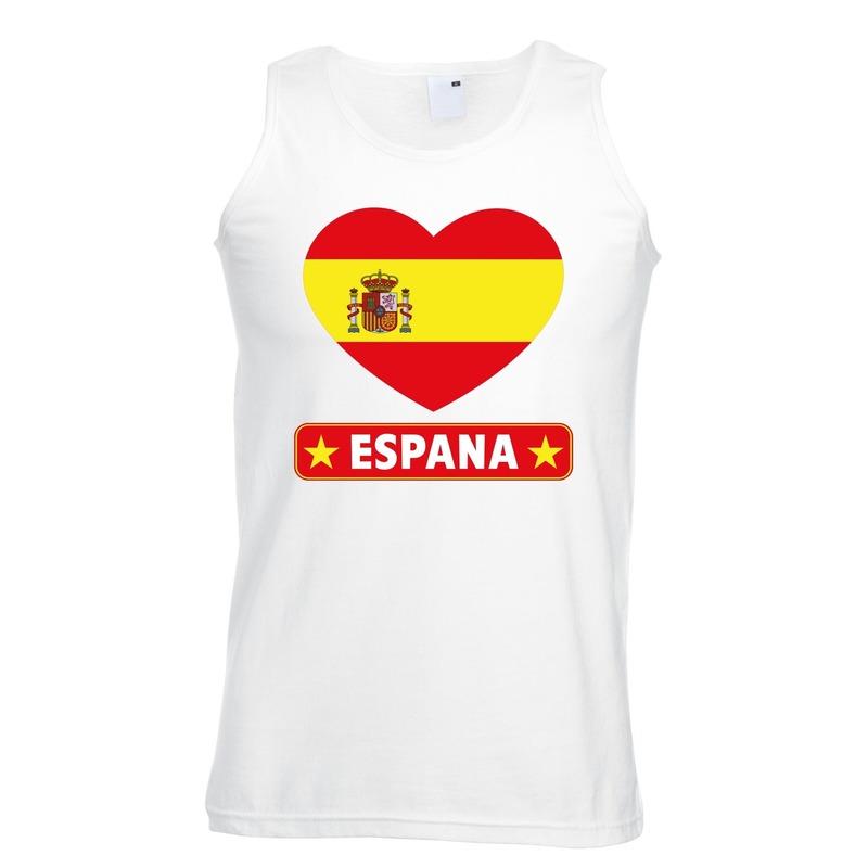 Spanje hart vlag mouwloos shirt wit heren Shoppartners te koop