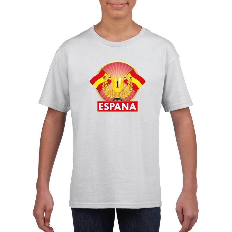 Landen versiering en vlaggen Shoppartners Spanje kampioen shirt wit kinderen