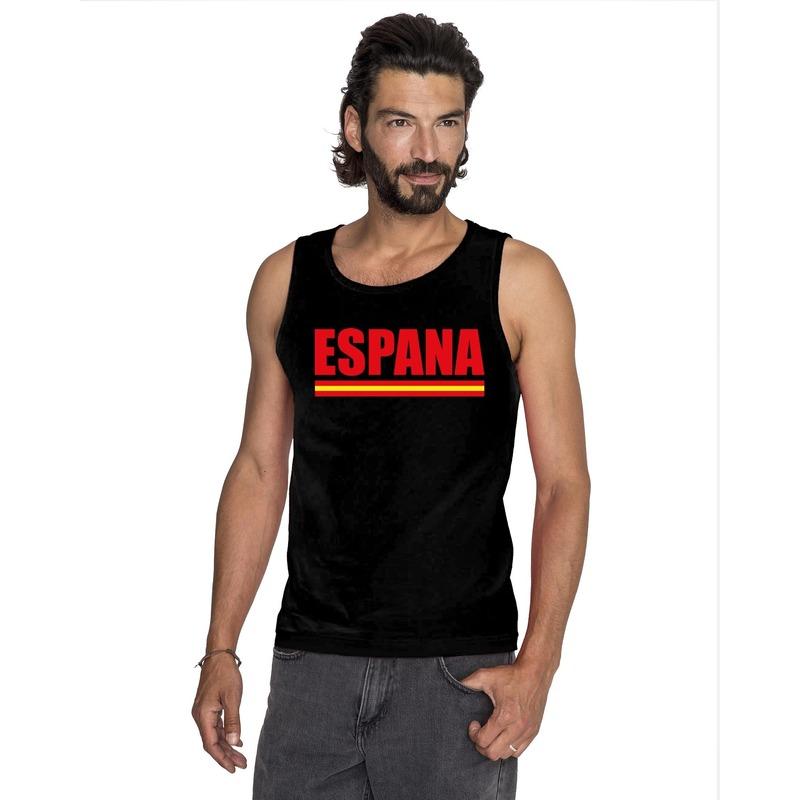 Landen versiering en vlaggen Spanje supporter mouwloos shirt tanktop zwart heren