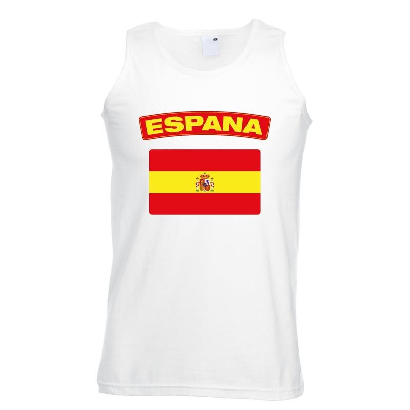 Landen versiering en vlaggen Spanje vlag mouwloos shirt wit heren