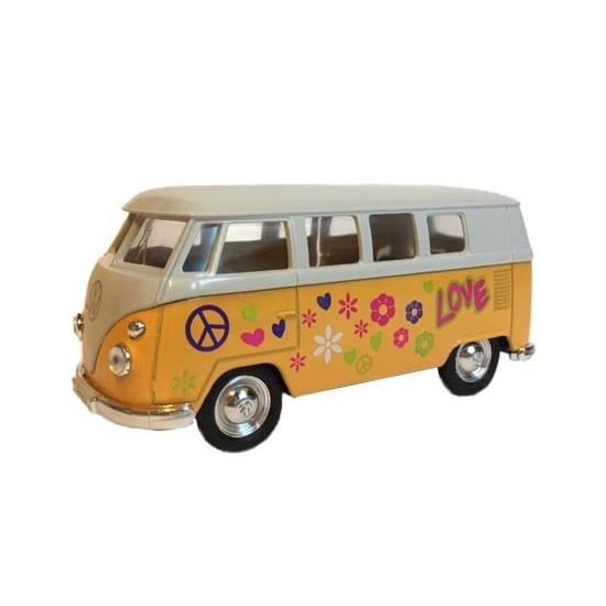 Speelgoedvoertuigen Geen Speelauto Volkswagen hippiebusje print geel 15 cm